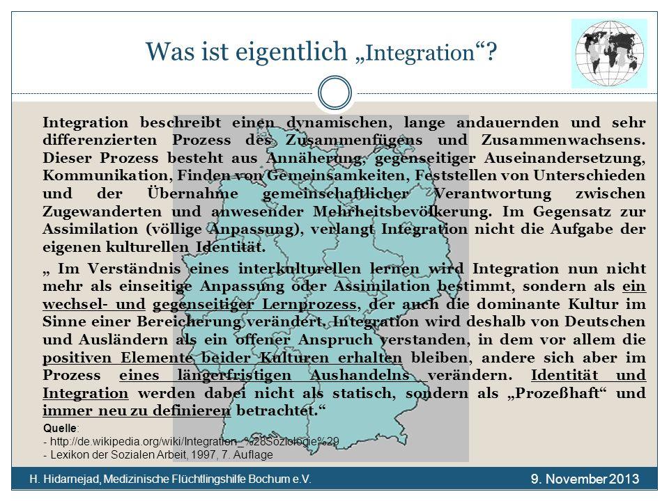 Was ist eigentlich Integration ? H. Hidarnejad, Medizinische Flüchtlingshilfe Bochum e.V. Integration beschreibt einen dynamischen, lange andauernden