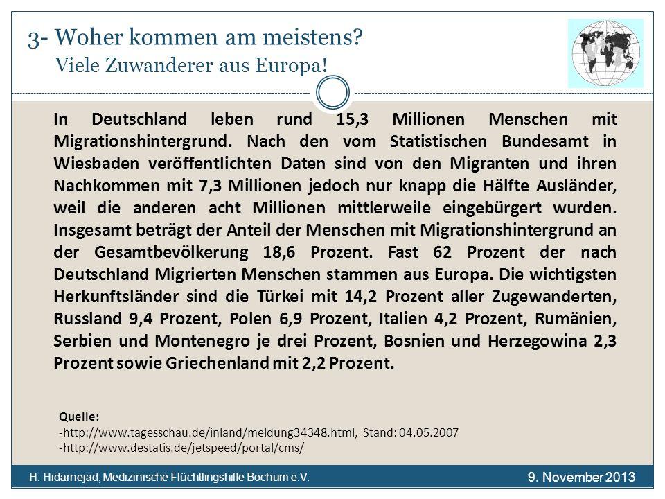 3- Woher kommen am meistens? Viele Zuwanderer aus Europa! H. Hidarnejad, Medizinische Flüchtlingshilfe Bochum e.V. Quelle: -http://www.tagesschau.de/i