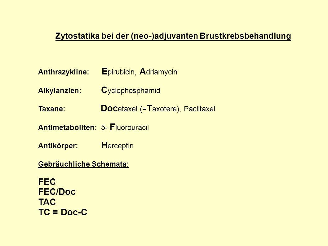 Zytostatika bei der (neo-)adjuvanten Brustkrebsbehandlung Anthrazykline: E pirubicin, A driamycin Alkylanzien: C yclophosphamid Taxane: Doc etaxel (=