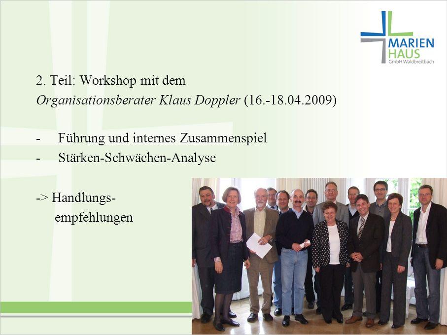 6 2. Teil: Workshop mit dem Organisationsberater Klaus Doppler (16.-18.04.2009) - Führung und internes Zusammenspiel - Stärken-Schwächen-Analyse -> Ha
