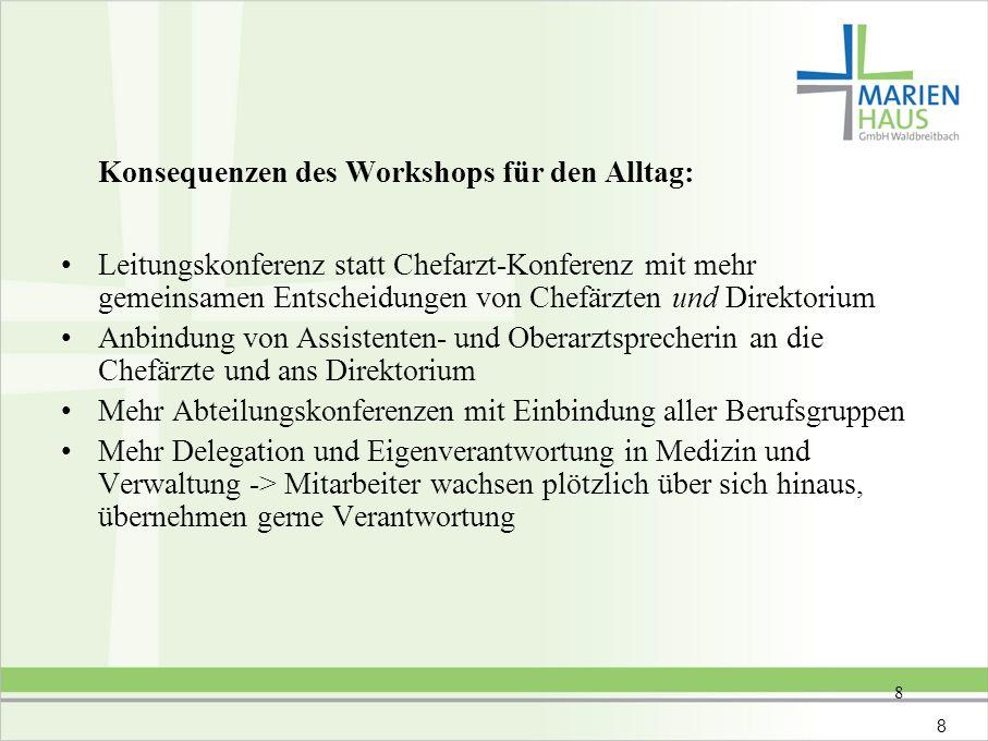 8 Konsequenzen des Workshops für den Alltag: Leitungskonferenz statt Chefarzt-Konferenz mit mehr gemeinsamen Entscheidungen von Chefärzten und Direkto