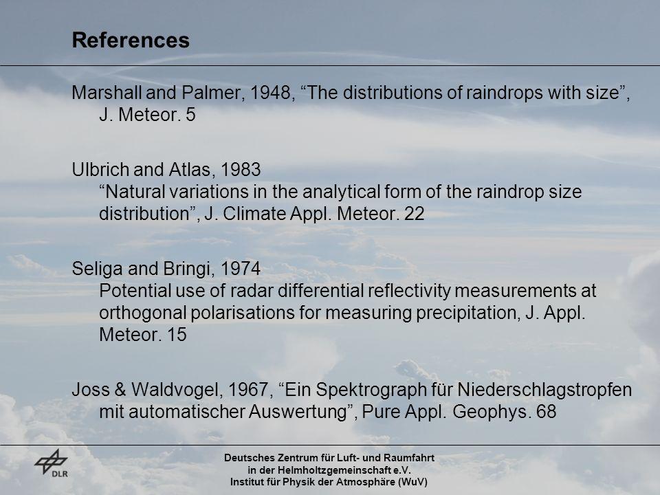Deutsches Zentrum für Luft- und Raumfahrt in der Helmholtzgemeinschaft e.V. Institut für Physik der Atmosphäre (WuV) References Marshall and Palmer, 1
