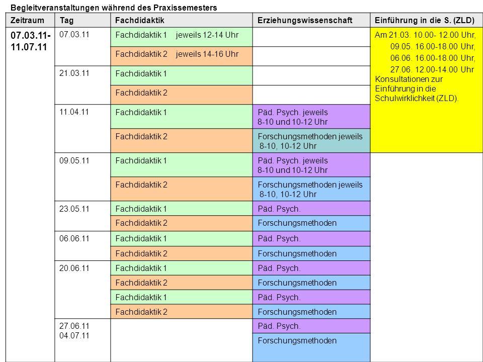 ZeitraumTagFachdidaktikErziehungswissenschaftEinführung in die S. (ZLD) 07.03.11- 11.07.11 07.03.11Fachdidaktik 1 jeweils 12-14 UhrAm 21.03. 10.00- 12