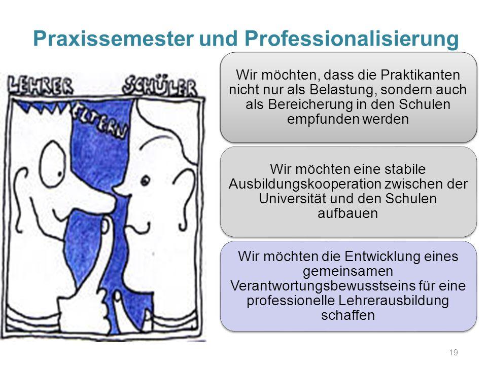 Praxissemester und Professionalisierung Wir möchten, dass die Praktikanten nicht nur als Belastung, sondern auch als Bereicherung in den Schulen empfu