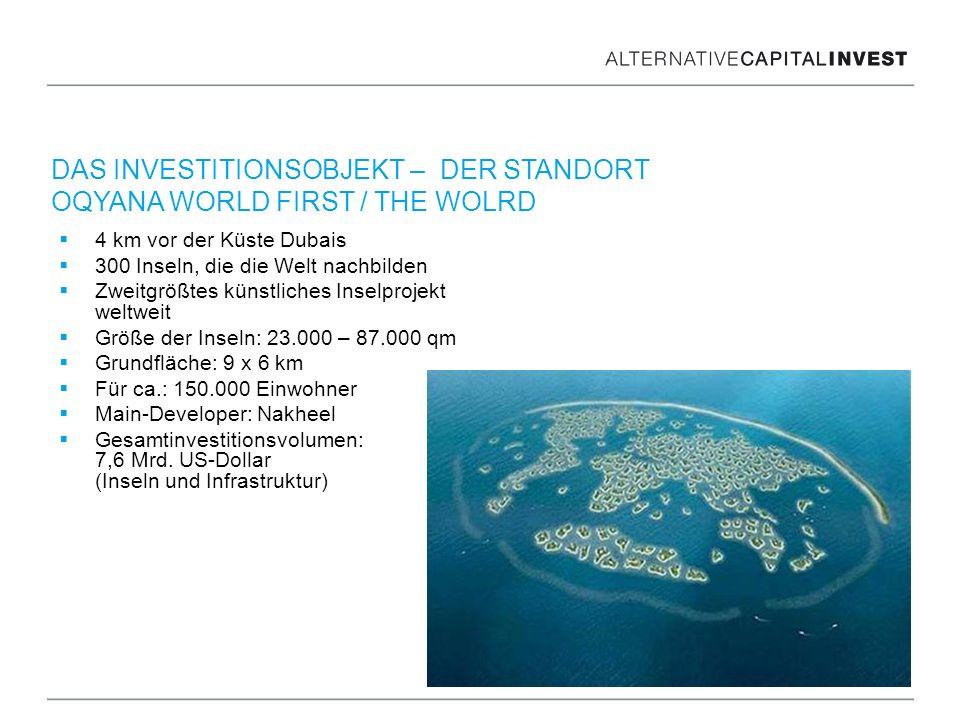 4 km vor der Küste Dubais 300 Inseln, die die Welt nachbilden Zweitgrößtes künstliches Inselprojekt weltweit Größe der Inseln: 23.000 – 87.000 qm Grun