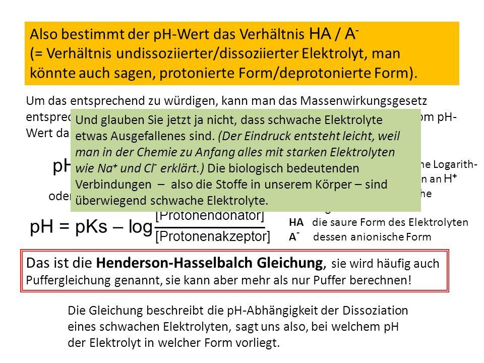 Also bestimmt der pH-Wert das Verhältnis HA / A - (= Verhältnis undissoziierter/dissoziierter Elektrolyt, man könnte auch sagen, protonierte Form/depr