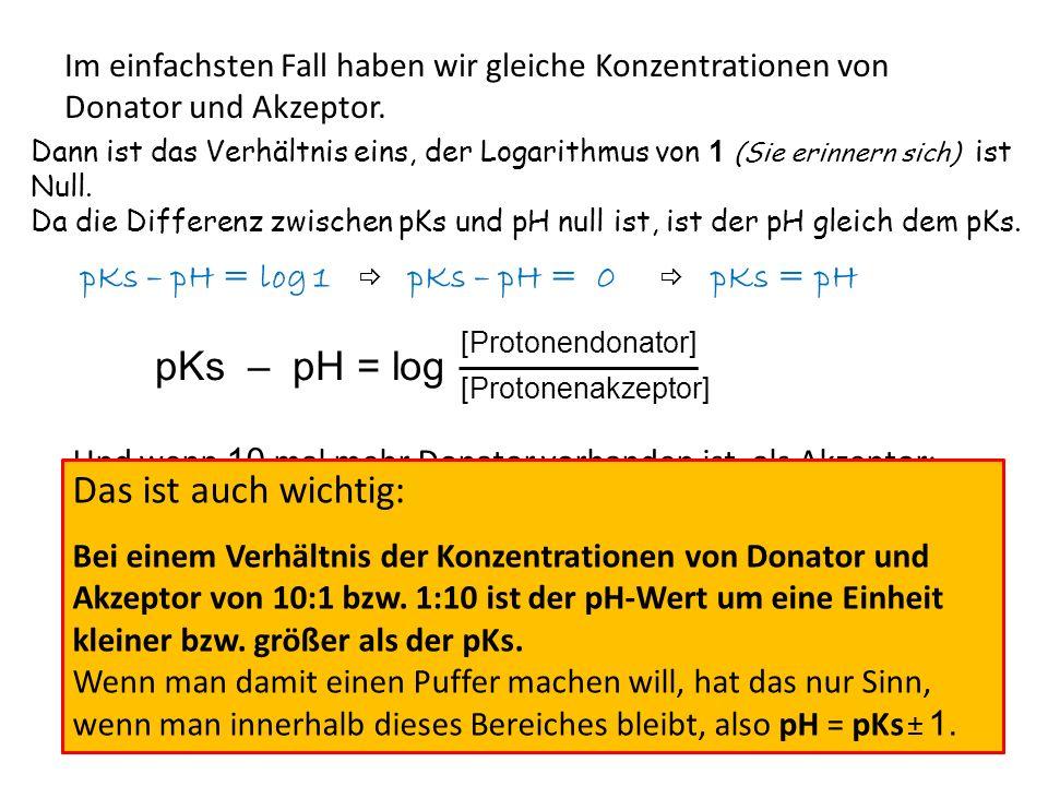 pKs – pH = log [Protonendonator] [Protonenakzeptor] Jetzt ein etwas realeres Beispiel: 15 ml Essigsäure (c=0.2mol/l) werden mit 30ml Acetatlösung (c= 0.2mol/l) gemischt.