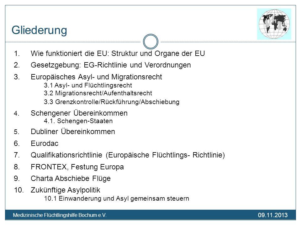 09.11.2013 Medizinische Flüchtlingshilfe Bochum e.V. Gliederung 1. Wie funktioniert die EU: Struktur und Organe der EU 2. Gesetzgebung: EG-Richtlinie
