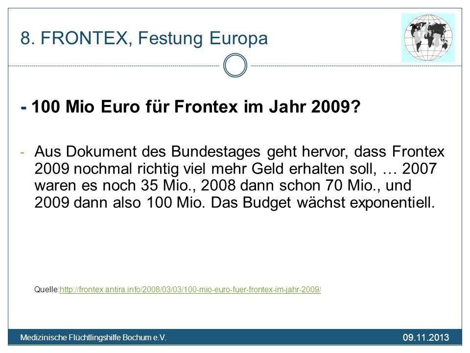 09.11.2013 Medizinische Flüchtlingshilfe Bochum e.V. 8. FRONTEX, Festung Europa - - 100 Mio Euro für Frontex im Jahr 2009? - Aus Dokument des Bundesta