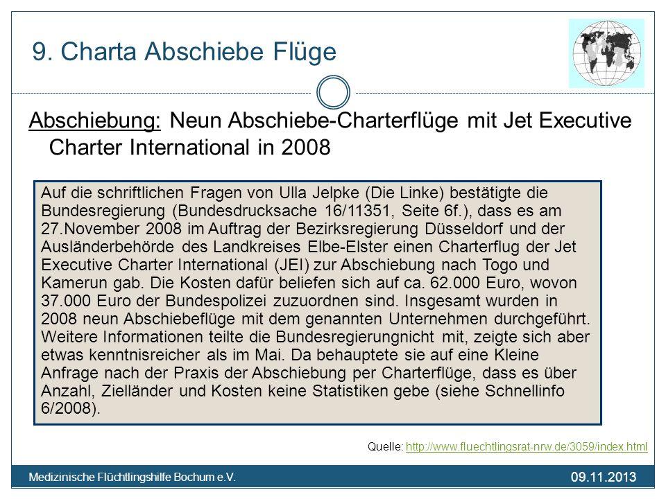 09.11.2013 Medizinische Flüchtlingshilfe Bochum e.V. Abschiebung: Neun Abschiebe-Charterflüge mit Jet Executive Charter International in 2008 Quelle: