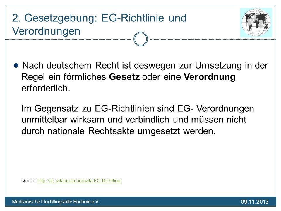 09.11.2013 Medizinische Flüchtlingshilfe Bochum e.V. Nach deutschem Recht ist deswegen zur Umsetzung in der Regel ein förmliches Gesetz oder eine Vero