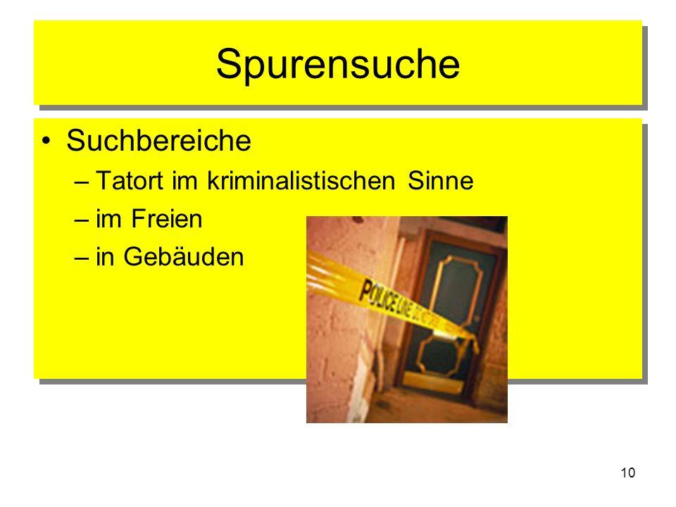 10 Spurensuche Suchbereiche –Tatort im kriminalistischen Sinne –im Freien –in Gebäuden Suchbereiche –Tatort im kriminalistischen Sinne –im Freien –in