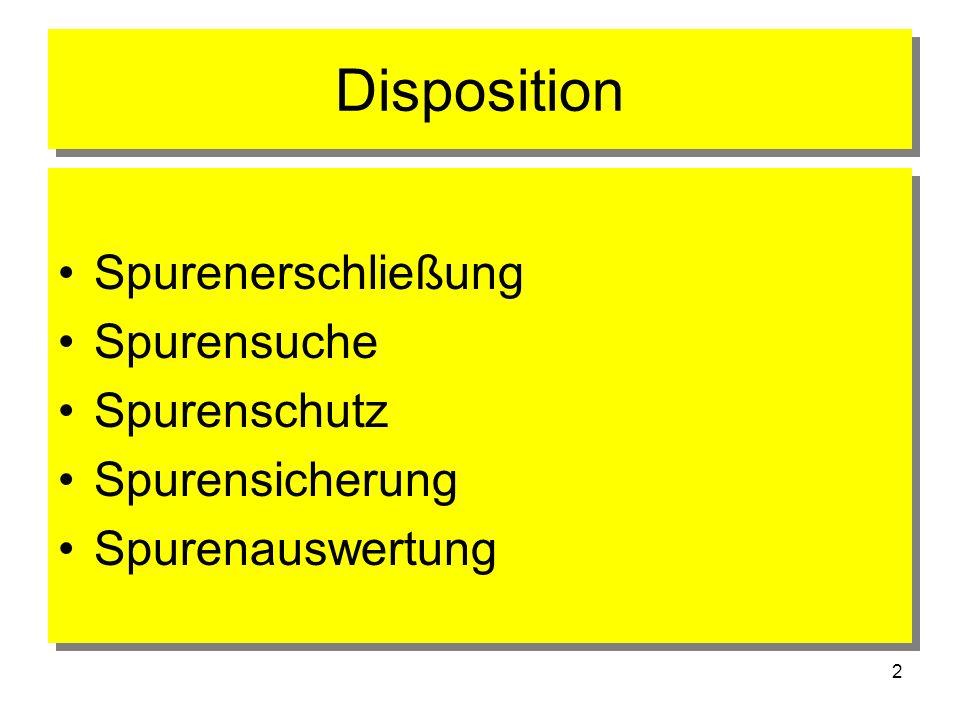 2 Disposition Spurenerschließung Spurensuche Spurenschutz Spurensicherung Spurenauswertung Spurenerschließung Spurensuche Spurenschutz Spurensicherung