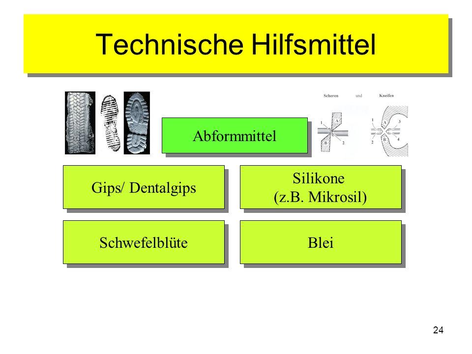 24 Technische Hilfsmittel Abformmittel Gips/ Dentalgips Blei Silikone (z.B. Mikrosil) Silikone (z.B. Mikrosil) Schwefelblüte