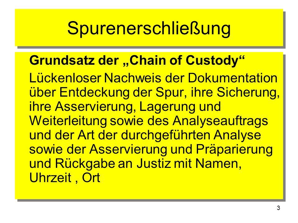3 Spurenerschließung Grundsatz der Chain of Custody Lückenloser Nachweis der Dokumentation über Entdeckung der Spur, ihre Sicherung, ihre Asservierung