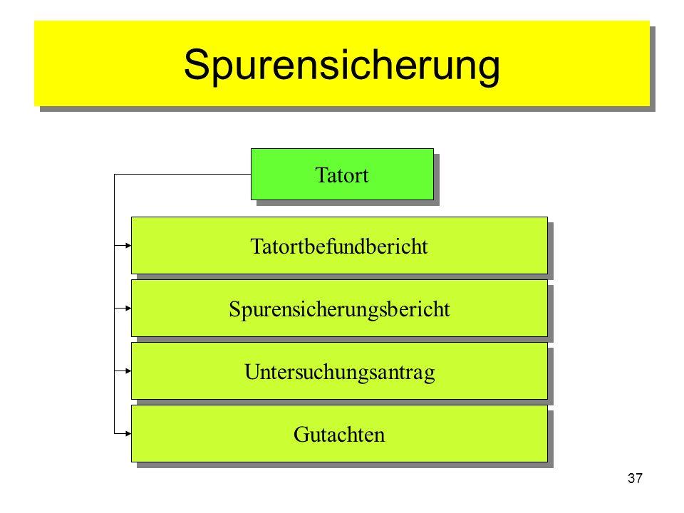 37 Spurensicherung Tatort Tatortbefundbericht Spurensicherungsbericht Untersuchungsantrag Gutachten