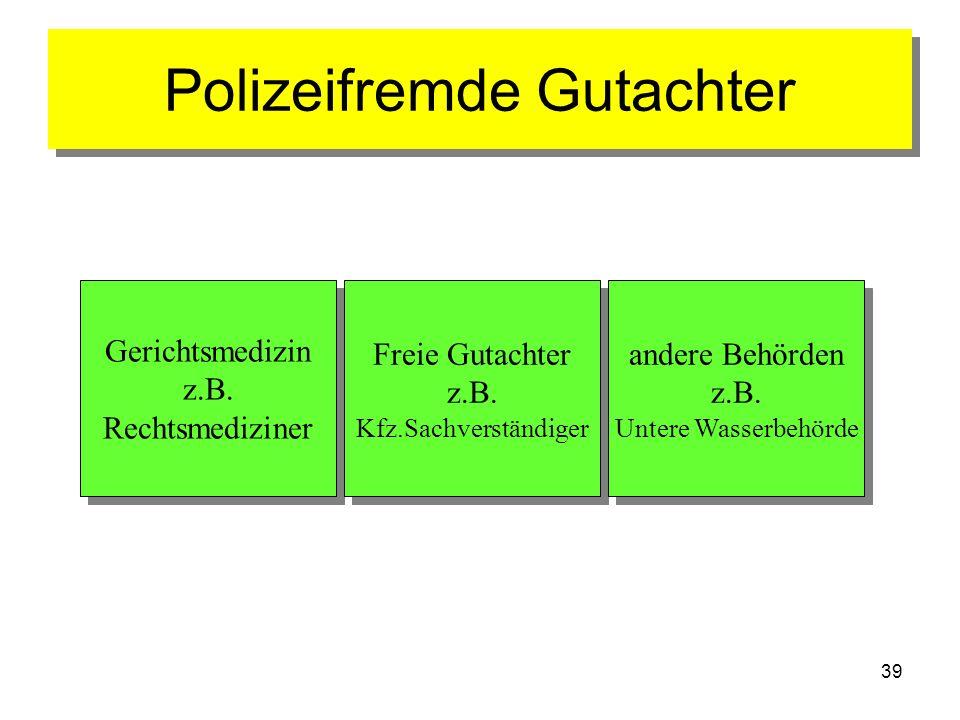 39 Polizeifremde Gutachter Gerichtsmedizin z.B. Rechtsmediziner Gerichtsmedizin z.B. Rechtsmediziner Freie Gutachter z.B. Kfz.Sachverständiger Freie G