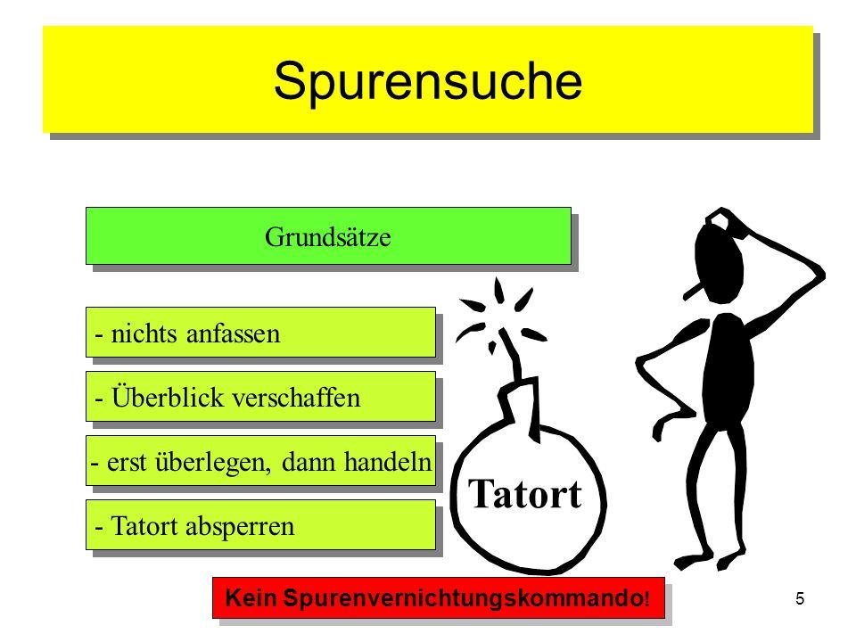 5 Spurensuche Tatort Grundsätze - nichts anfassen - Überblick verschaffen - erst überlegen, dann handeln - Tatort absperren Kein Spurenvernichtungskom