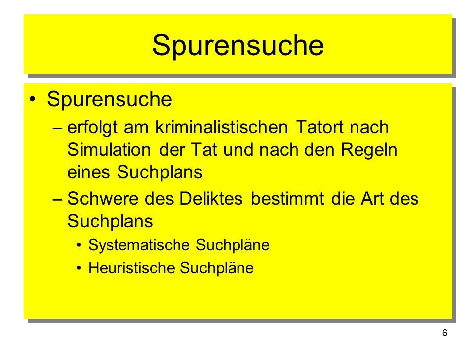 7 Spurensuche 1. Erkennen von Spuren 2. Methoden der Spurensuche 3. Suchbereiche