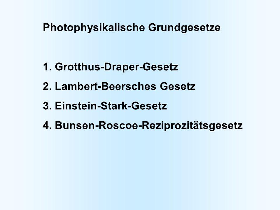 Photophysikalische Grundgesetze 1. Grotthus-Draper-Gesetz 2. Lambert-Beersches Gesetz 3. Einstein-Stark-Gesetz 4. Bunsen-Roscoe-Reziprozitätsgesetz