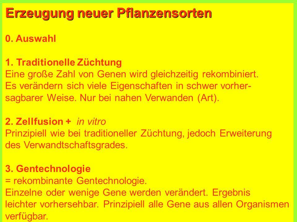 Erzeugung neuer Pflanzensorten 0.