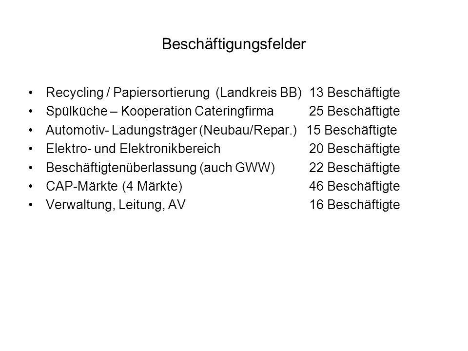 Beschäftigungsfelder Recycling / Papiersortierung(Landkreis BB)13 Beschäftigte Spülküche – Kooperation Cateringfirma25 Beschäftigte Automotiv- Ladungs