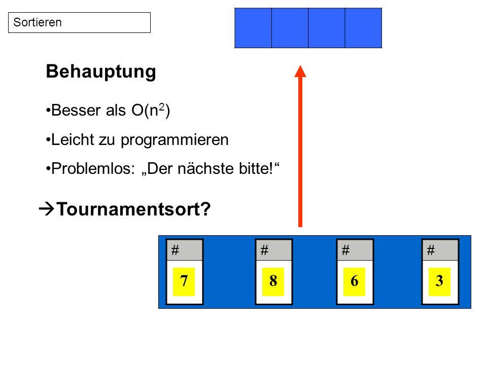 # 7 # 8 # 6 # 3 Sortieren Besser als O(n 2 ) Leicht zu programmieren Problemlos: Der nächste bitte.