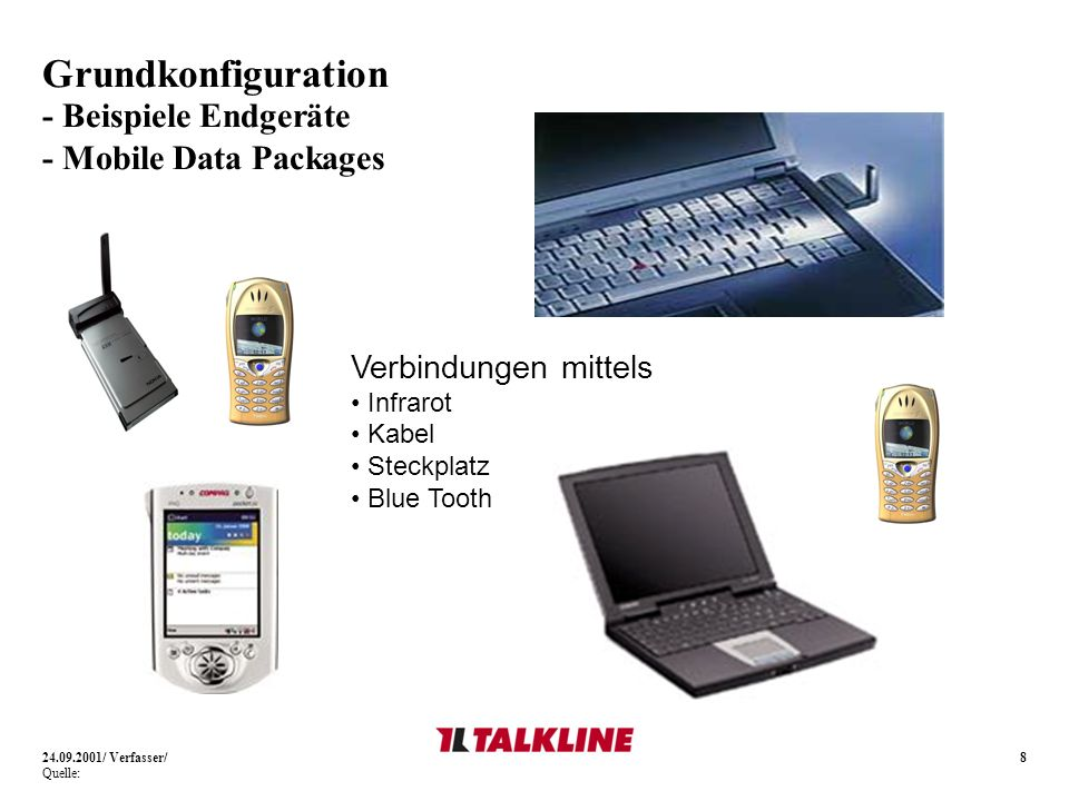 8 Grundkonfiguration - Beispiele Endgeräte - Mobile Data Packages 24.09.2001/ Verfasser/ Quelle: Verbindungen mittels Infrarot Kabel Steckplatz Blue T