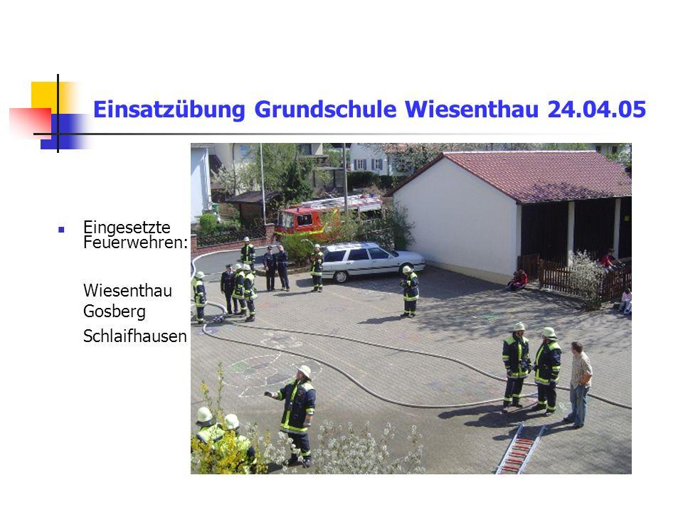 Einsatzübung Grundschule Wiesenthau 24.04.05 Eingesetzte Feuerwehren: Wiesenthau Gosberg Schlaifhausen