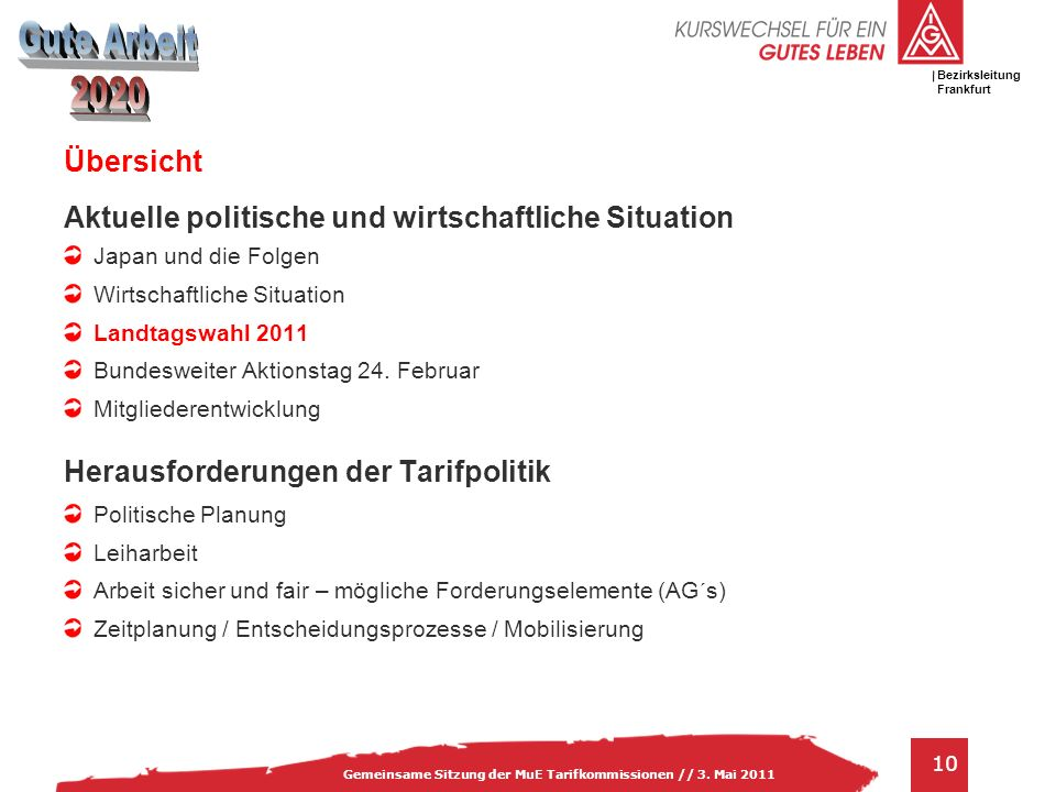 IG Metall Bezirksleitung Baden-Württemberg 10 Gemeinsame Sitzung der MuE Tarifkommissionen // 3. Mai 2011 Bezirksleitung Frankfurt Übersicht Aktuelle
