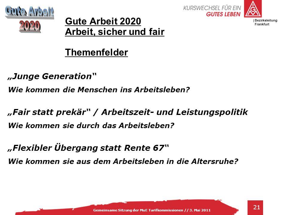 IG Metall Bezirksleitung Baden-Württemberg 21 Gemeinsame Sitzung der MuE Tarifkommissionen // 3. Mai 2011 Bezirksleitung Frankfurt Gute Arbeit 2020 Ar