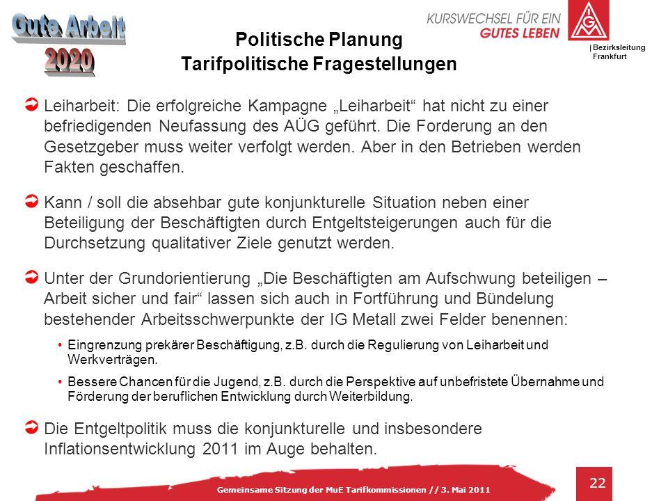 IG Metall Bezirksleitung Baden-Württemberg 22 Gemeinsame Sitzung der MuE Tarifkommissionen // 3. Mai 2011 Bezirksleitung Frankfurt Politische Planung