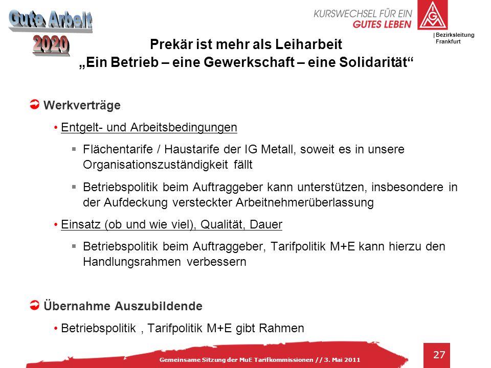 IG Metall Bezirksleitung Baden-Württemberg 27 Gemeinsame Sitzung der MuE Tarifkommissionen // 3. Mai 2011 Bezirksleitung Frankfurt Prekär ist mehr als
