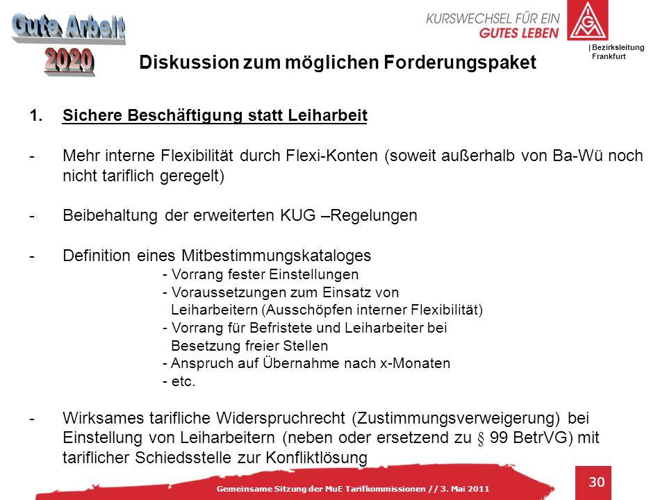 IG Metall Bezirksleitung Baden-Württemberg 30 Gemeinsame Sitzung der MuE Tarifkommissionen // 3. Mai 2011 Bezirksleitung Frankfurt 1.Sichere Beschäfti