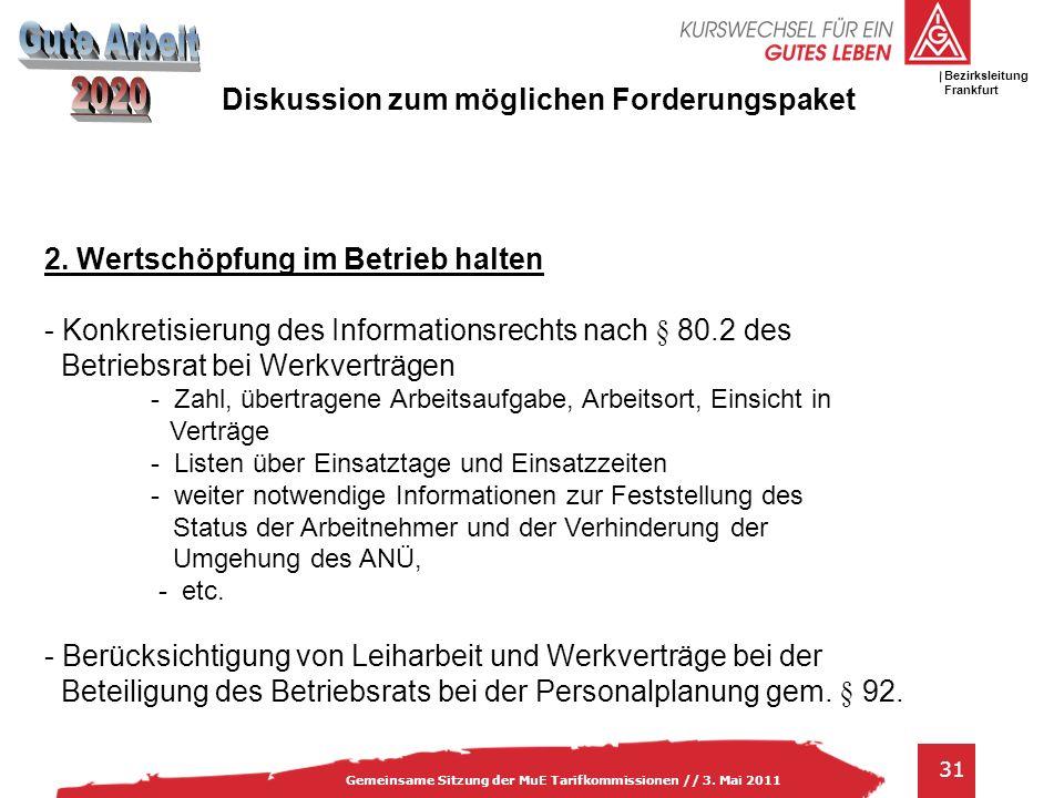 IG Metall Bezirksleitung Baden-Württemberg 31 Gemeinsame Sitzung der MuE Tarifkommissionen // 3. Mai 2011 Bezirksleitung Frankfurt 2. Wertschöpfung im