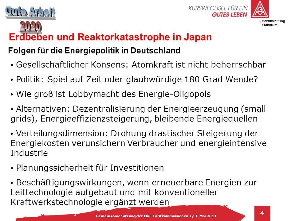 IG Metall Bezirksleitung Baden-Württemberg 4 Gemeinsame Sitzung der MuE Tarifkommissionen // 3. Mai 2011 Bezirksleitung Frankfurt Erdbeben und Reaktor