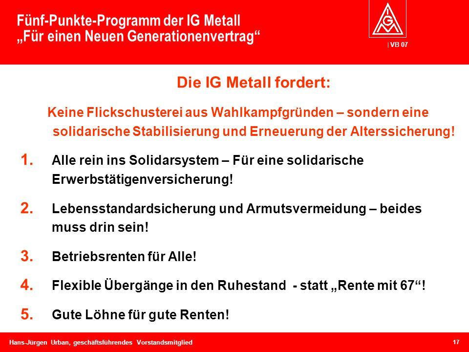 VB 07 Hans-Jürgen Urban, geschäftsführendes Vorstandsmitglied Fünf-Punkte-Programm der IG Metall Für einen Neuen Generationenvertrag Die IG Metall for