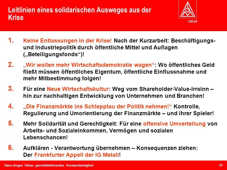 VB 07 Hans-Jürgen Urban, geschäftsführendes Vorstandsmitglied Leitlinien eines solidarischen Ausweges aus der Krise 1. Keine Entlassungen in der Krise