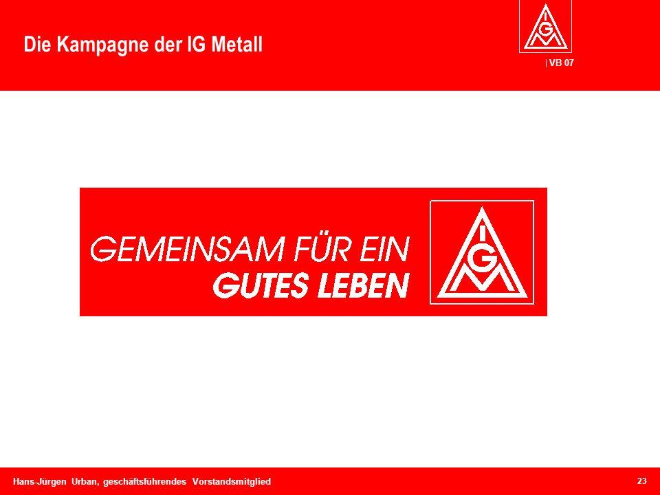 VB 07 Hans-Jürgen Urban, geschäftsführendes Vorstandsmitglied Die Kampagne der IG Metall 23