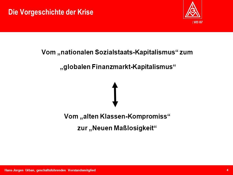 VB 07 Hans-Jürgen Urban, geschäftsführendes Vorstandsmitglied Die Vorgeschichte der Krise Vom nationalen Sozialstaats-Kapitalismus zum globalen Finanz