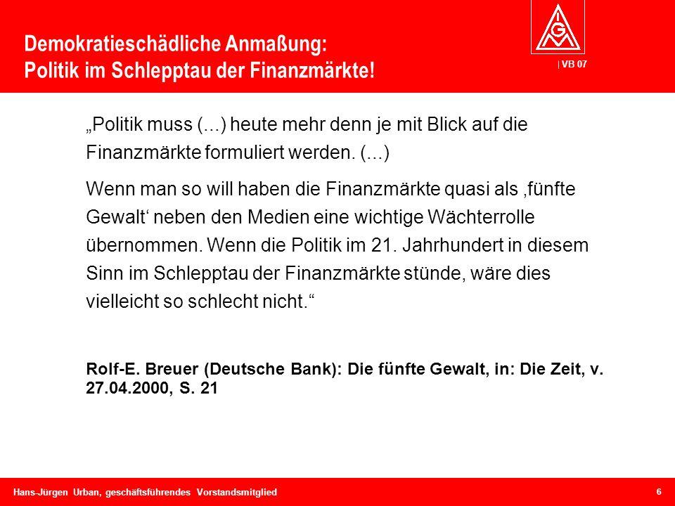 VB 07 Hans-Jürgen Urban, geschäftsführendes Vorstandsmitglied Demokratieschädliche Anmaßung: Politik im Schlepptau der Finanzmärkte! Politik muss (...