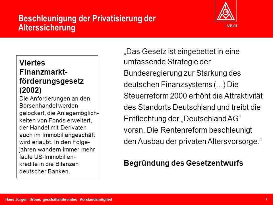 VB 07 Hans-Jürgen Urban, geschäftsführendes Vorstandsmitglied Beschleunigung der Privatisierung der Alterssicherung Viertes Finanzmarkt- förderungsges