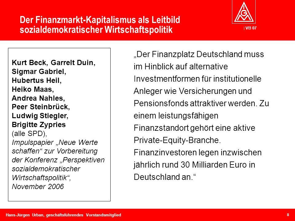 VB 07 Hans-Jürgen Urban, geschäftsführendes Vorstandsmitglied Der Finanzmarkt-Kapitalismus als Leitbild sozialdemokratischer Wirtschaftspolitik Der Fi