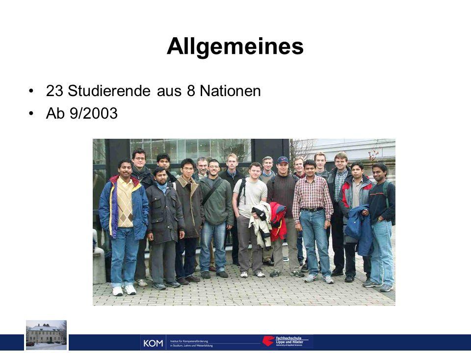 Prof. Dr. Reinhard Doleschal Allgemeines 23 Studierende aus 8 Nationen Ab 9/2003