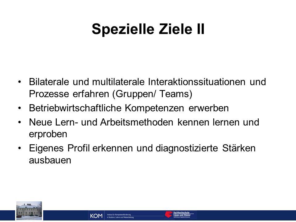 Prof. Dr. Reinhard Doleschal Spezielle Ziele II Bilaterale und multilaterale Interaktionssituationen und Prozesse erfahren (Gruppen/ Teams) Betriebwir