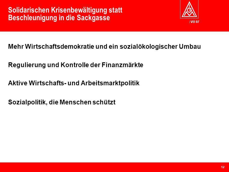 VB 07 Solidarischen Krisenbewältigung statt Beschleunigung in die Sackgasse Mehr Wirtschaftsdemokratie und ein sozialökologischer Umbau Regulierung un