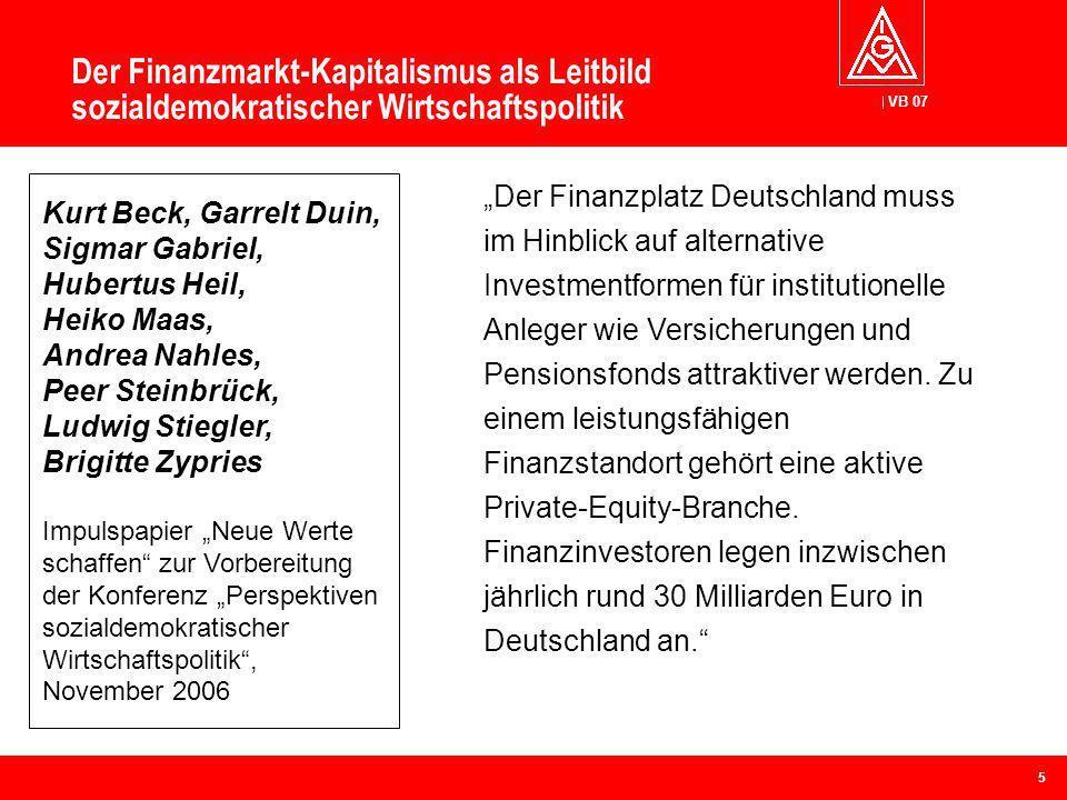 VB 07 Der Finanzmarkt-Kapitalismus als Leitbild sozialdemokratischer Wirtschaftspolitik Der Finanzplatz Deutschland muss im Hinblick auf alternative I