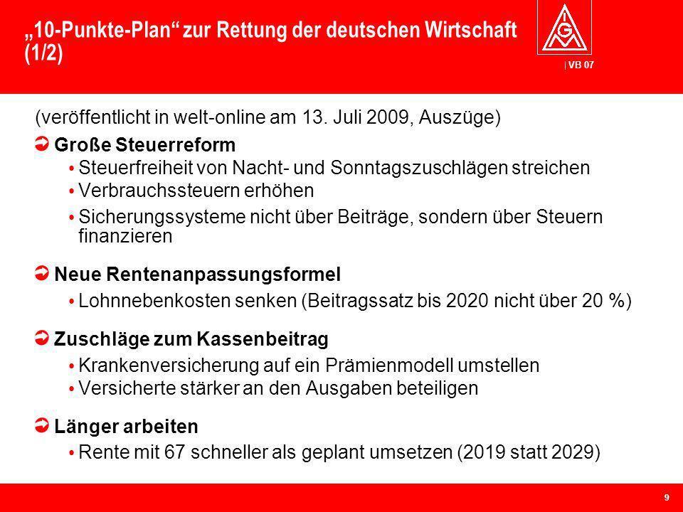 VB 07 10-Punkte-Plan zur Rettung der deutschen Wirtschaft (1/2) (veröffentlicht in welt-online am 13. Juli 2009, Auszüge) Große Steuerreform Steuerfre
