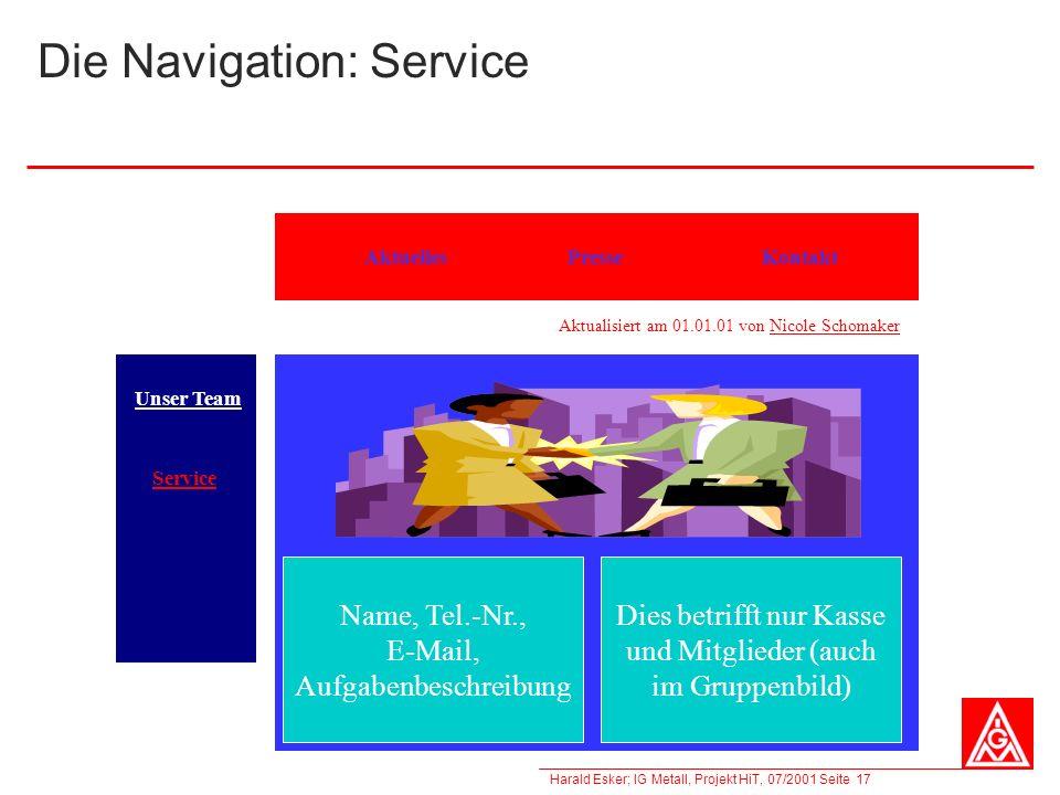 Harald Esker; IG Metall, Projekt HiT, 07/2001 Seite 17 Die Navigation: Service KontaktAktuellesPresse Unser Team Service Aktualisiert am 01.01.01 von