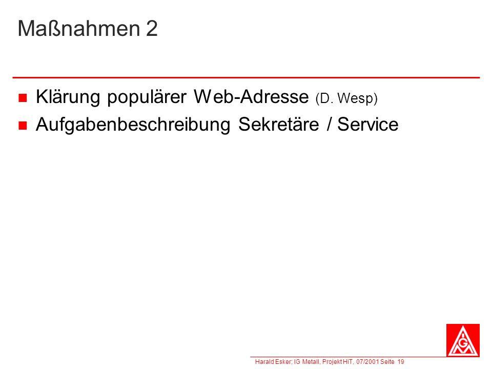 Harald Esker; IG Metall, Projekt HiT, 07/2001 Seite 19 Maßnahmen 2 Klärung populärer Web-Adresse (D. Wesp) Aufgabenbeschreibung Sekretäre / Service